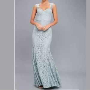 Lulus ROSETTA $110 Slate Blue Lace Maxi Dress